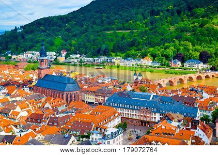 View over the medieval old town of Heidelberg, Germany