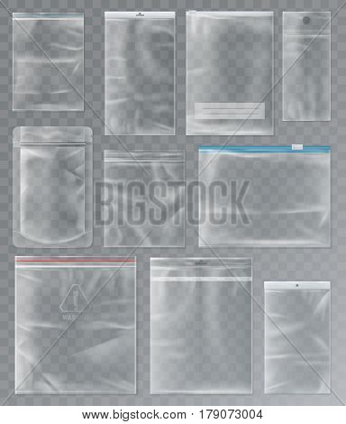 Sealed transparent sachet or set of isolated sealed polythene packs, zipped empty packs, blank waterproof package design for product storage, container. Retail and selling, storage material theme