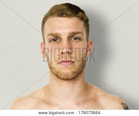 Man close up photo shoot and posing