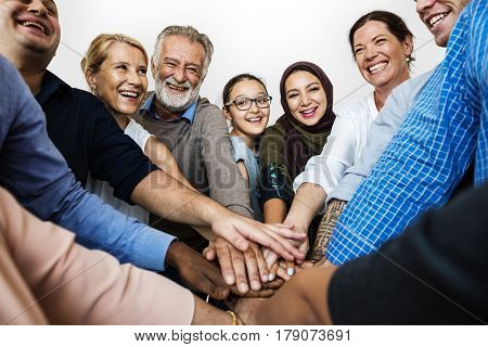 Group of Diverse People Hands Together Teamwork Cooperation