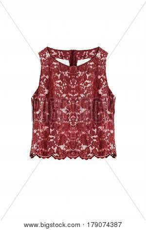Red lacy sleeveless top on white background
