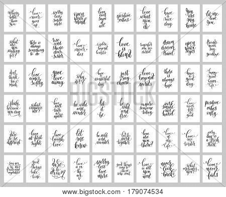 mega set of 60 hand written lettering positive inspirational quote posters about life, modern calligraphy vector illustration collection