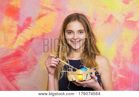 Happy Easter Blonde Girl Painter With Colorful Eggs And Paintbrush
