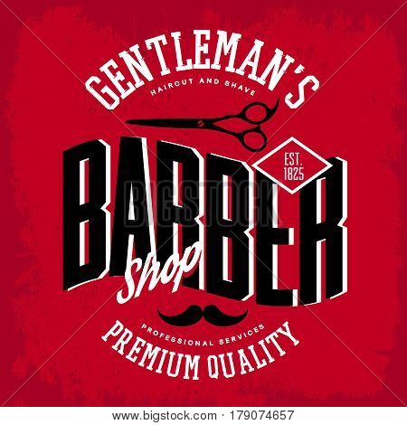 Scissors and mustache on barber shop logo or logotype. Man place for shaving beard and haircut, premium quality services for gentleman. Hairdresser sign or insignia, t-shirt print and advertising theme