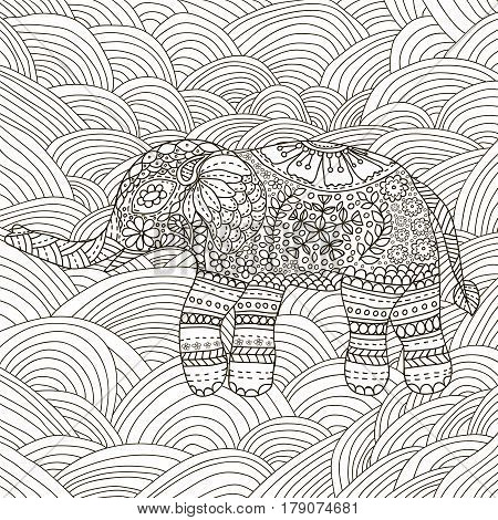 Hand drawn Elephant with ethnic floral doodle pattern. Coloring page for adultszendala. Vector illustration on the white background. Zen doodles.