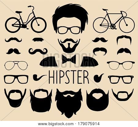 Big vector set of dress up constructor with different men hipster haircuts, glasses, beard, mustache, bikes in trendy flat style. Male faces icon creator.