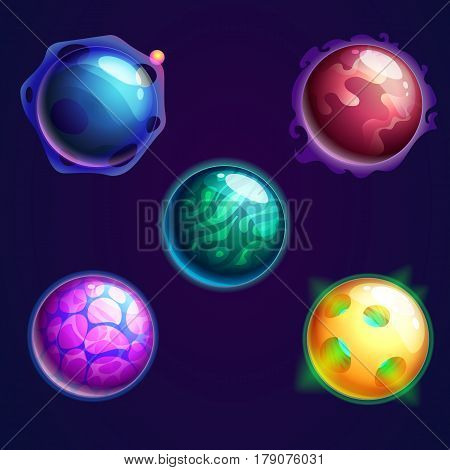 Galaxy glowing planets with satellite or cosmos sphere supernova star objects, set of isolated cartoon cometes with holes or craters on surface. Universe and astronomy, astrology and exploration theme