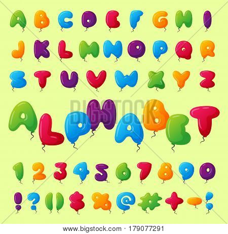 English balloon colorful alphabet on background. Holidays and education ozone type. Greeting helium cartoon festive decoration vector illustration.