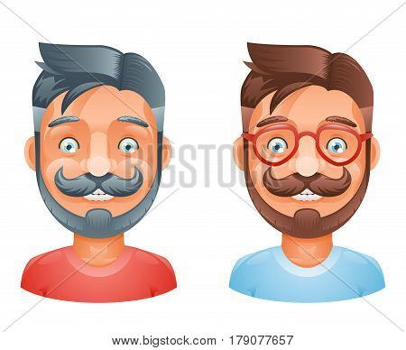 Geek Hipster Mustache Vintage Glasses Bangs Male Cute Avatar Heads Flat Template Design Vector Illustration