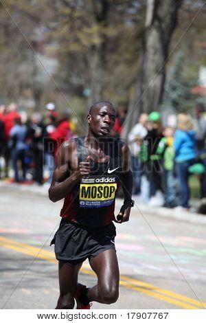 BOSTON - APRIL 18 : Elite Male Runners race up Heartbreak Hill during the Boston Marathon April 18,