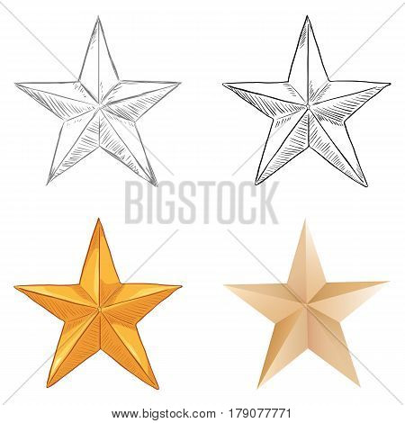 Vector Set Of Stars. Different Draw Styles.