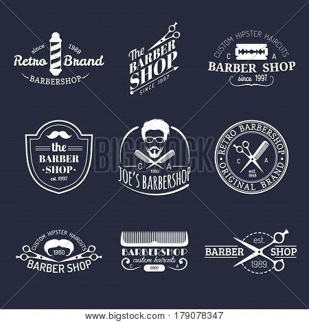Vector set of vintage hipster barbershop logos. Hairdresser badges or emblems collection
