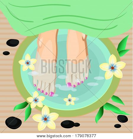 Vector illustration of women feet pedicure in flat style. For salon adverts