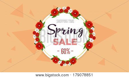 Spring sale background banner with colorful flowers. 60 percent Off. Vector illustration