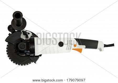 white powerful circular saw on white background