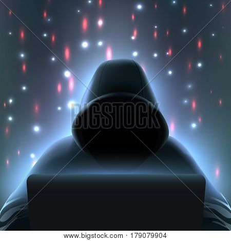 Dark colored hacker computer realistic composition with incognito man in black hood over laptop vector illustration