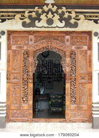 Bengjn, Indonesia - 23 February 2013: Door of a tipical balinese house of Bengjn