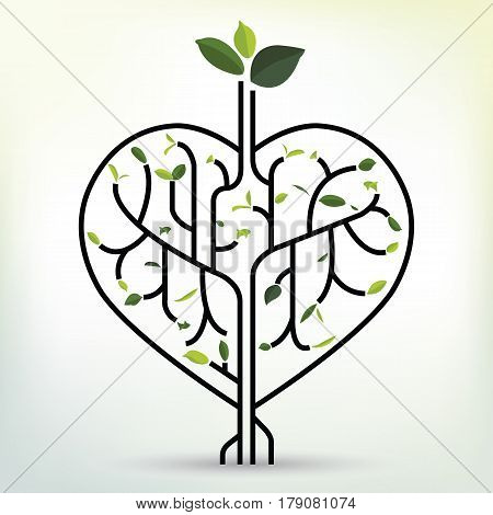 Shape heart with green leaf. Black outline vector illustration. Tree branches like the heart. Branches with leaves.