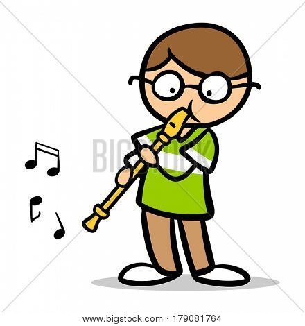 Cartoon child playing music with flute as music lessons in school ad