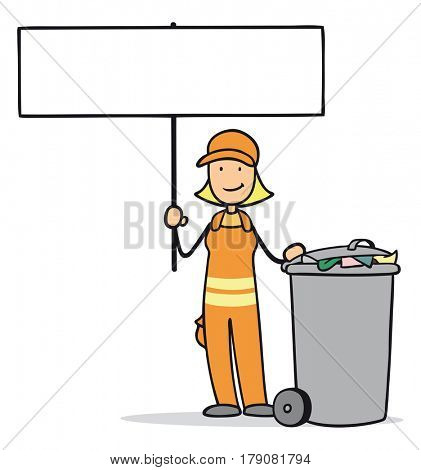 Cartoon of woman as garbage disposal professional holding blank sign