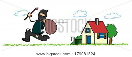 Housebreaker cartoon character fleeing from house he just robbed