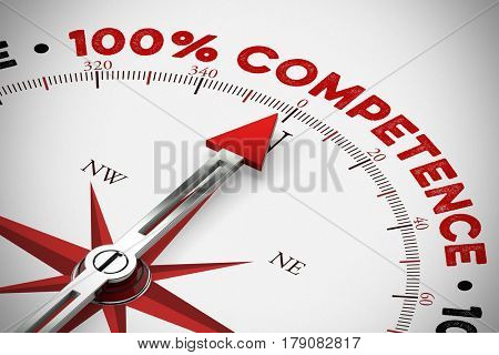 Arrow points to 100% Competence on a compass as service concept (3D Rendering)