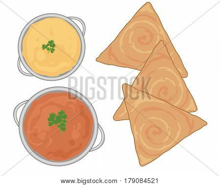 an illustration of an indian meal with fresh dosa and curry dishes on a white background