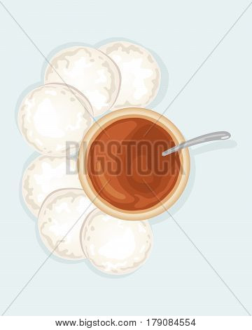 an illustration of an indian meal with fresh idly and a thick curry sauce on a light blue background