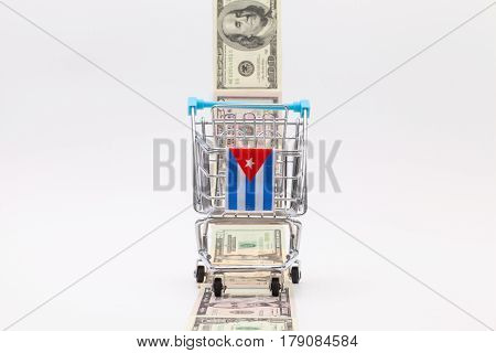 Strip of different us dollar banknotes and empty shopping trolley as a symbol of the american blockade in Cuba poster