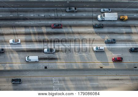 Cars driving on a highway bird's eye view