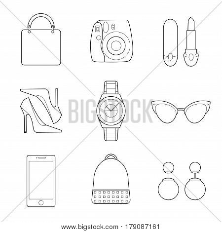 Set of simple fashion lineart objects on white background vector illustration
