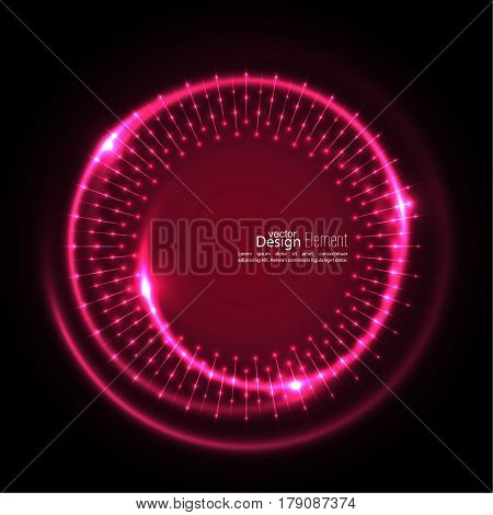 Abstract techno background with spirals and rays with glowing particles. Tech design. Lights vector frame. Glowing dots.  red, maroon, crimson, magenta, ruby