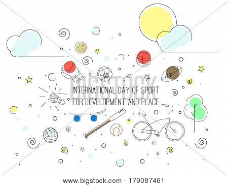 Vector illustration of international Day of Sport for Development and Peace. Icons in the lineart style.