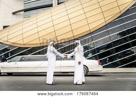 Arabic businessmen in Dubai - Business meeting