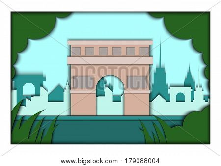 Paper applique style illustration. Card with application of Paris ponorama with Triumphal Arch. Postcard