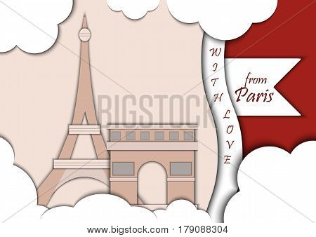 Paper applique style illustration. Card with application of Eiffel Tower and Triumphal Arch, Paris, France decorated with text from Paris with love. Postcard