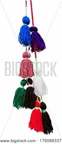Colorful Woolen Tassels isolated on white with Clipping Path