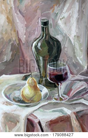 still life gouache color painting the bottle glass and pear