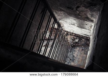Old Empty Abandoned Bunker Interior, Ladder