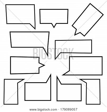 Set of Speech bubbles linear icons in shape rectangle. Chat web icons. Flat design style vector illustration