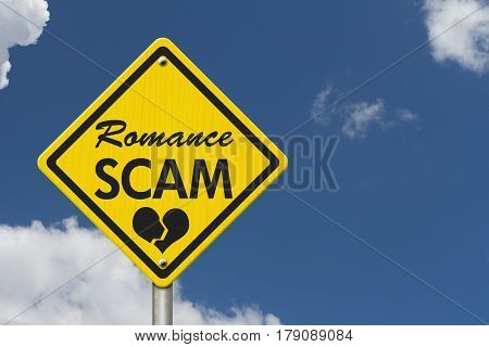 Romance Scam yellow warning road sign Yellow caution sign with words Romance Scam with sky background 3D Illustration