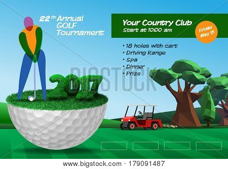 Golfer Standing On Half Golf Ball. Golf Ticket Horizontal Brochure Template