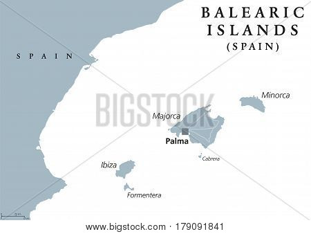 Balearic Islands political map with capital Palma. Majorca, Minorca, Ibiza, Formentera. Spain autonomous community in Mediterranean Sea. Gray illustration on white background. English labeling. Vector
