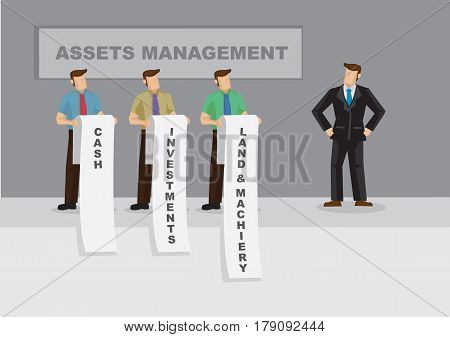 Cartoon business professional faces long list of cash investments and fixed asset. Creative vector illustration for metaphor on asset management for businesses.