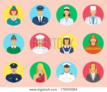 Set of colorful profession people flat icons. Different people professions characters set. Stewardess pilot fireman teacher cook maid doctor nurse captain singer communication operator.