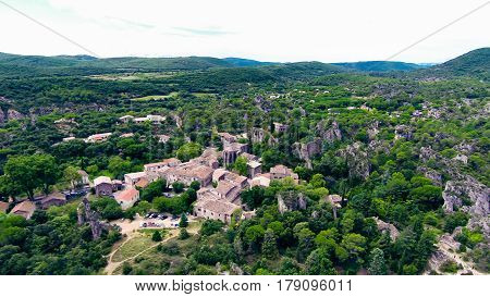 aerial view of rock formations near the village of moureze, france