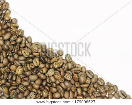 coffee grains fresh raw on wright side