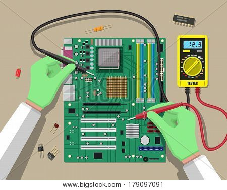 Hands of engineer with digital multimeter checks computer motherboard. PC hardware. Components for personal computer. PCB icon. Service, recovery, warranty, fixing. Vector illustration in flat style