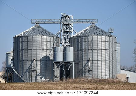 Grain storage silos. Farm. Blue sky. Agriculture
