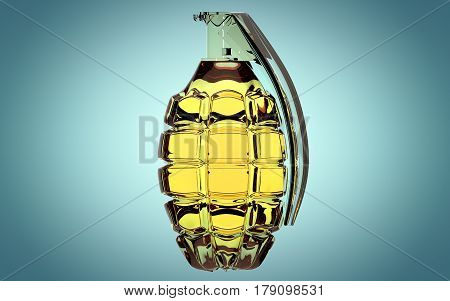 Hand grenade made of glass on beautiful blue background.